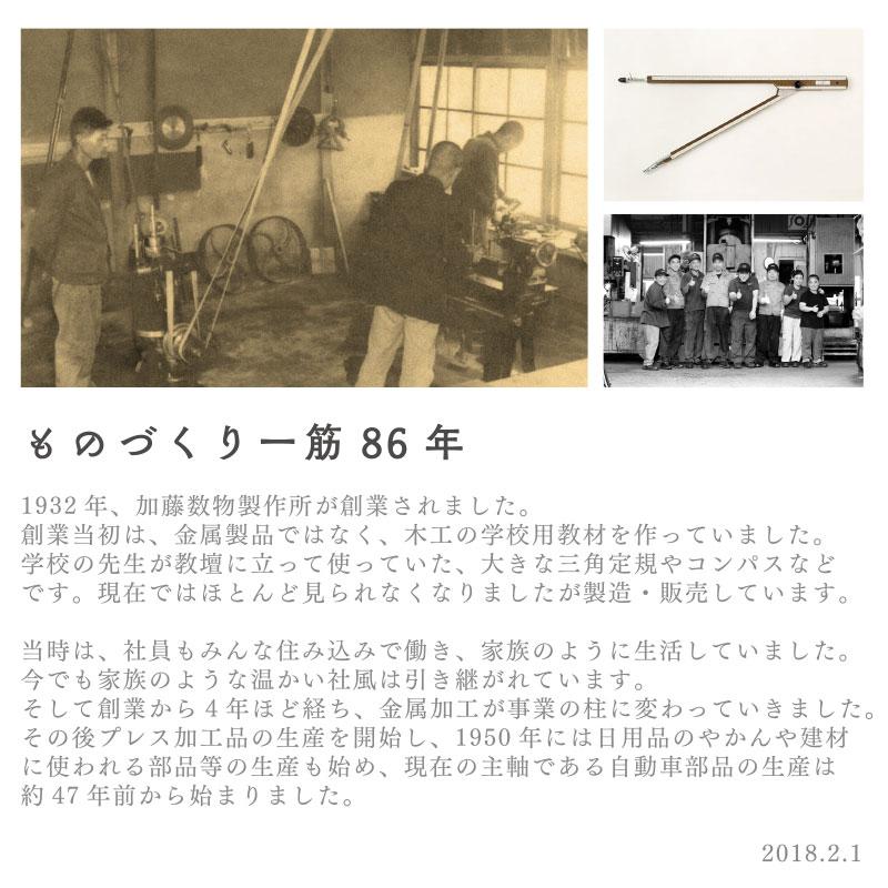 ものづくり一筋88年の加藤数物。創業時は木工の学校用教材を製造していた。